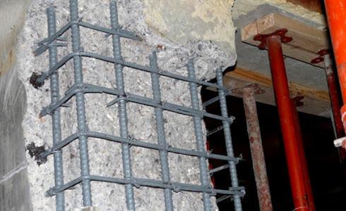 שיקום ברזל חלוד בעמוד בניין